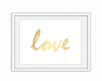 Gold Love art print Digital wall art Printable home decor poster Prints Instant Download.