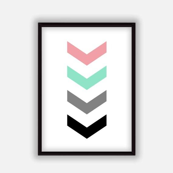Grey Arrow Wall Decor : Coral mint grey and black arrow print digital wall