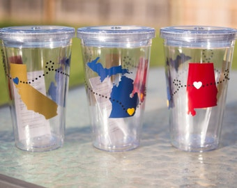 Long Distance Love, Friendship Personalized Tumblers 16 oz