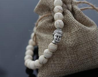 Buddha Head Bracelet, Silver Buddha Bracelet, Yoga Bracelet, Healer & Spiritual bracelets, Beaded Bracelets