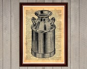 Milk can print kitchen dining room decor Vintage Retro poster Dictionary page Home interior cafe 0105