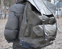 Swiss army vintage backpack dated 1970's Canvas and leather backpack Military backpack Large canvas rucksack Swiss rucksack