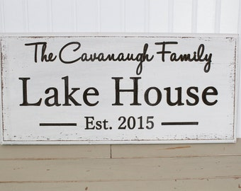 Lake House Custom Carved Last Name Sign Personalized Family Name Sign
