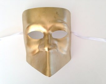 "Gold Masquerade Mask ""Bauta""  or knight mask"