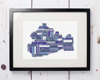 Surrey Word Map - Print only (12 x 8)