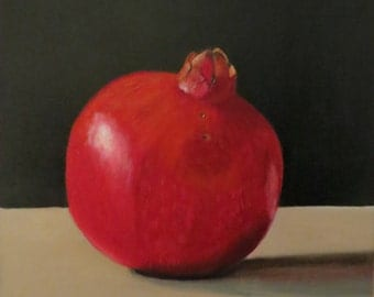 Pomegranate, oil painting, oil painting, oil on canvas, 40 x 40 cm, unframed, multiple layers, long drying time realistically painted,