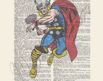 Marvel Comics Thor on dictionary page print