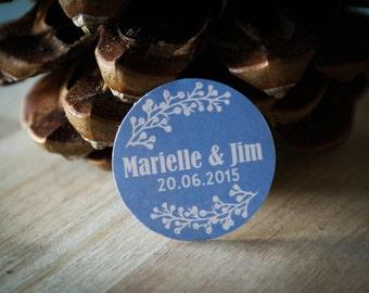 40 Etiquettes Mariage autocollantes personnalisées - prénoms + date + choix de la couleur