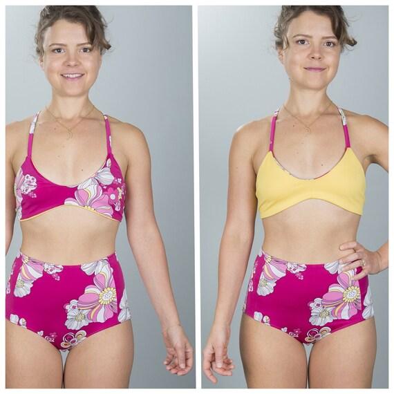 Lemon yellow to raspberry floral reversible racerback bikini top size large