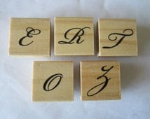 "Letter ""E"" ""R"" ""T"" ""O"" Z"" Initial Monogram Italic Wooden Rubber Stamp"