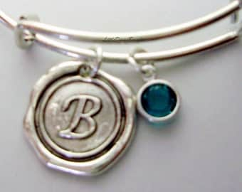 Personalize Your  Adjustable Bangle Bracelet / Swarovski  Birthstone Crystal Drop / Antique Silver Wax  Charm Gift For her  - CH1