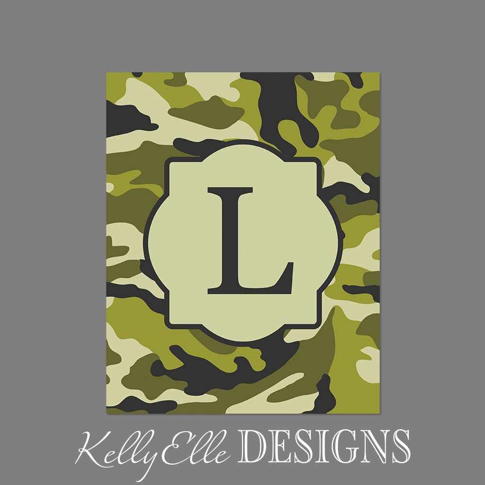Initial Art Print Camouflage Letter Wall Art By KellyElleDesigns