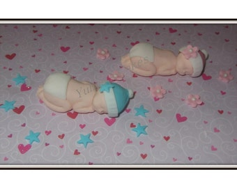 1 Edible sleeping baby cake topper,christening,baptism,baby shower,baby shower,sugarpaste decoration,boy,girl