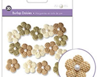 Burlap Daisies  with imitation pearl centre - 15 in pack