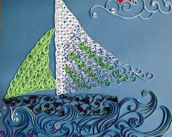 Quilled sailboat