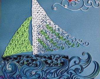 Handmade Quilled Paper Sailboat Art