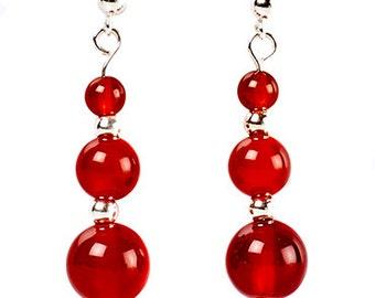 Autumn - earrings of cornelian and sterling silver