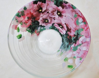 Decorative dishes - salad bowl - pink hollyhocks