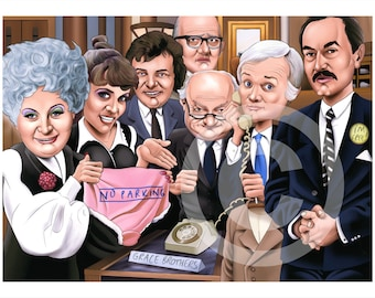 Are You Being Served caricature - artwork print signed by artist - 100 print edition - A3 size