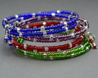 SALE!!! Set of 4 Memory Wire Bracelets,Feel Good Mood Bracelet,Blue,Purple,Red,Green beaded memory wire bracelet