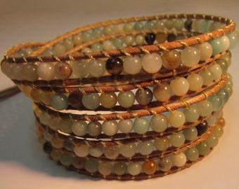 Leather Wrap Bracelet Amazonite