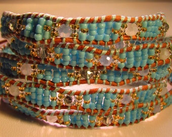 Turquoise Seed Beads Wrap Bracelet
