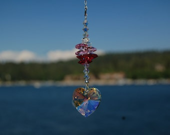 Crystal Heart Suncatcher, Car Charm, Swarovski AB 28mm Heart Rainbow Maker, Car Rearview Mirror Charm LOVE