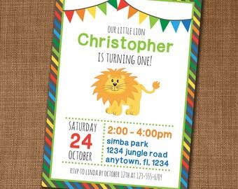 Lion Birthday Invitation - Lion Invite - Birthday Party Invitation - Boy Birthday Invite - Edit yourself at home!