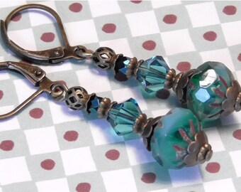 Brass czech glass blue cruller indicolite swarovsky earrings