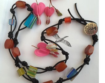 Beaded leather neckles, leather necklace