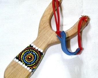 LANCE stone crafts Wooden SLINGSHOT Catapult painted wood handmade