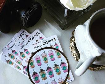 Coffee Lovers Frappe Planner and Scrapbook Stickers