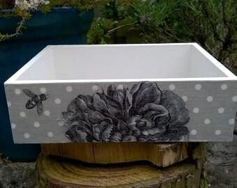 Vintage Style, Shabby Chic Wooden Decoupaged Trinket Box/Jewellery Tray/Box