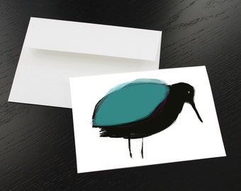 Lot of 3 'Bird black, turquoise' greeting cards. Format, folded 5 x 7, white interior. Envelopes included.