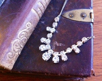 Crystal vintage Downton Abbey bridal silverplated necklace