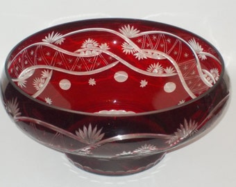Vintage Ruby-Red Cut-To-Clear Crystal Pedestal Bowl. Mid-20th Century. In EXCELLENT Condition. BEAUTIFUL!