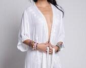 Kimono Robe with Embroidery & Eyelet Trim with Belt. Spa Robe. Swim Cover up. Beach Wrap. Boho Chic Resort Wear. Bohemian Top.