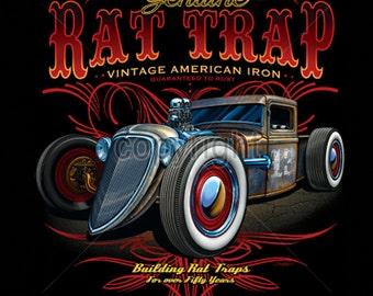Mens T Shirt Rat Trap Hot Rod Car T Shirt Free Shipping to USA 17682