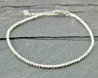 Sterling silver bracelet. Tiny silver bead bracelet. Silver beaded bracelet. Silver bead bracelet. Friendship bracelet. Bead bracelet.T002