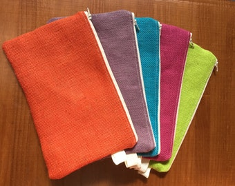 ute Zippered Pouch with Eco Travel Art Set / Natural Woven Pouch / Large Zippered Pouch - 5 Colors