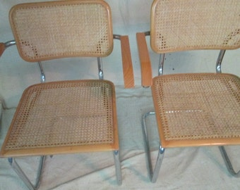 Marcel Breuer style arm chairs Italian beech + chrome Cesca chairs cane kitchen arm chair pair