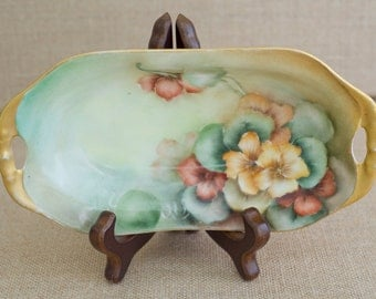 Vintage Weimar Floral Oblong Dish - Gold Trim on Handles and Rim of Dish - Very Old