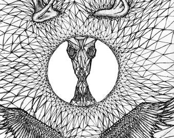 Geometric drawing. Pen and ink art, Ink Drawing, Original art, Fine art Print, Geometric art, Ink illustration, Abstract drawing, Ink art