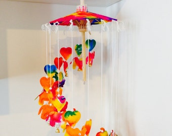 Umbella  mobile made from rice paper ( colorful )