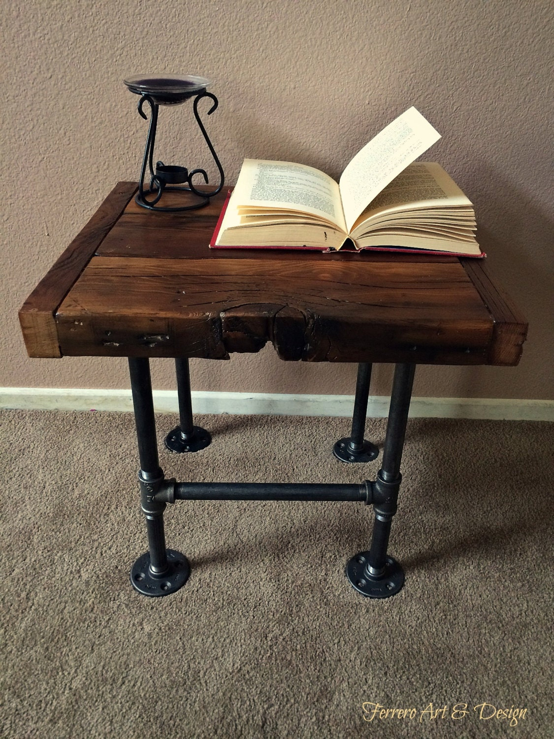 Steampunk Style Side Table Nightstand Reclaimed Barn Wood