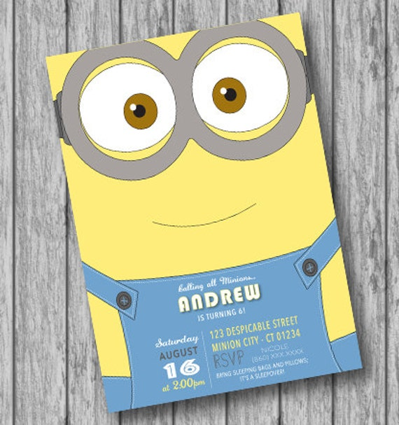 Minion Invites with beautiful invitations example