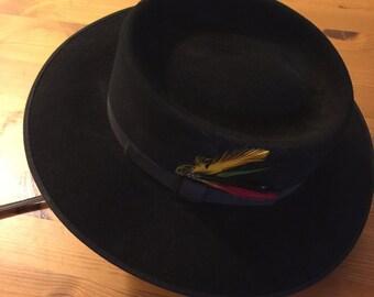 Black Statesman Rabbit Felt Hat- Made in Australia size 56 6 7/8