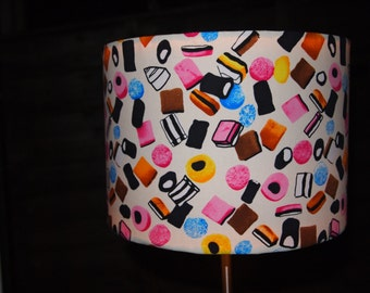 Drum Lampshade with Liquorice Allsorts on a Cream Background