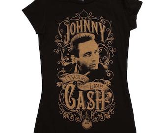 Johnny Cash Walk the Line Junior's T-Shirt Womens Sz. S-M-L-XL 100% Cotton Tee