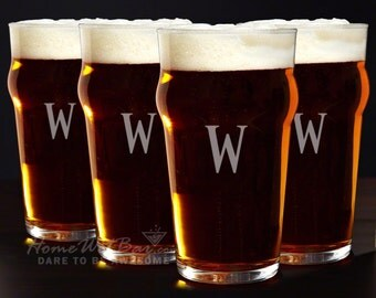 Personalized English Pub Glasses, Set of 4